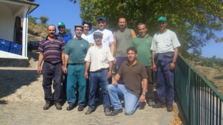 Miles and the winery team at Cavadinha