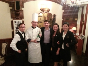 Jorge Nunes, Asia Pacific Market Manager for Graham's (centre) at the restaurant in Tainan.