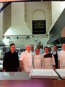 Chef Rui Paula (centre) with the Merchant Taylor's Hall resident Chef, Richard on his right, in the hall's lofty kitchens