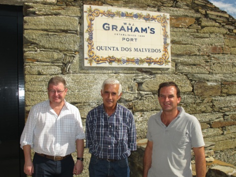 The team in charge of the Malvedos winery; Henry Shotton, Alexandre Mariz and Charles Symington