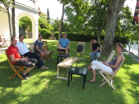 """Our guests from our newly appointed distributor in Belgium: """"The Nectar"""", enjoy a well deserved glass of chilled Graham's 20 Year Old Tawny on the charming grass terrace at Malvedos"""