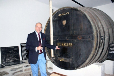 Michael Cox points to THE MASTER, the large cask he was about to baptize (with a glass of Port) in the Graham's 1890 Lodge on October 24th.