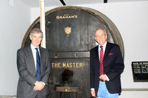 Paul Symington (left), Graham's Joint Managing Director who hosted his friend, Michael Cox at the Graham's 1890 Lodge for the traditional baptismal ceremony.