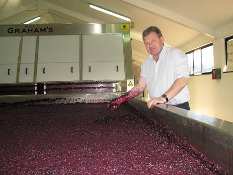 Henry proudly shows us the  incredibly concentrated colour of the Touriga Franca lagar.