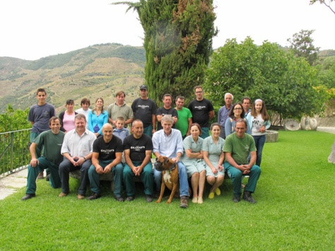 Paul Symington (centre, with his boxer, Mungo) surrounded by the full Malvedos vintage 2013 team.