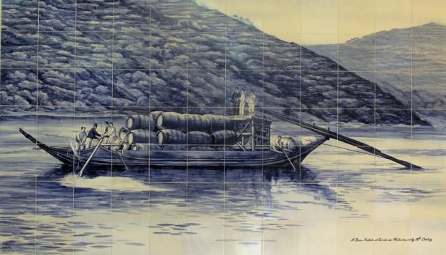 Traditional Portuguese tiles (azulejos) decorate the interior of the Malvedos winery. This represents a barco rabelo loaded with pipes of Port from Malvedos.