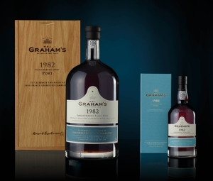 Graham's 1982 Commemorative Port, available in Jeroboams (4.5 litre bottles) with an oak box and in 75cl bottles.