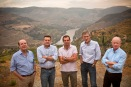 The five cousins of the Symington family who jointly run their family business. From left to right: Johnny, Rupert, Charles, Paul, Dominic.