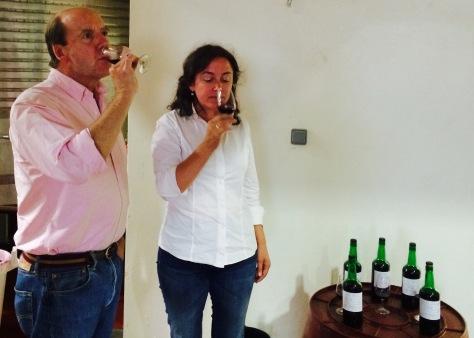 Johnny and Paula tasting a Touriga Nacional - Sousão co-fermented wine.