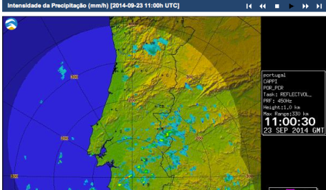 The rain that fell on Tuesday between 11 am and noon is represented by the Portuguese Met Office's radar picture (see top centre in blue)