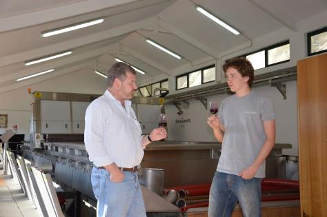 One of Oscar's ligher duties: tasting a Touriga Nacional - Sousão co-fermented Port with Malvedos winemaker, Henry Shotton.
